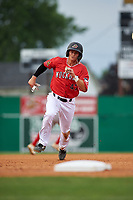 Batavia Muckdogs Jack Strunc (47) running the bases during a NY-Penn League game against the Lowell Spinners on July 11, 2019 at Dwyer Stadium in Batavia, New York.  Batavia defeated Lowell 5-2.  (Mike Janes/Four Seam Images)