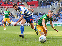Preston North End's Brandon Barker  competing with Reading's Matt Miazga <br /> <br /> Photographer Andrew Kearns/CameraSport<br /> <br /> The EFL Sky Bet Championship - Reading v Preston North End - Saturday 30th March 2019 - Madejski Stadium - Reading<br /> <br /> World Copyright © 2019 CameraSport. All rights reserved. 43 Linden Ave. Countesthorpe. Leicester. England. LE8 5PG - Tel: +44 (0) 116 277 4147 - admin@camerasport.com - www.camerasport.com
