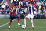 Real Valladolid´s Fausto Rossi (R) and Barcelona´s Neymar Jr during La Liga match at Zorrilla Stadium in VAlladolid, Spain. March 08, 2014. (ALTERPHOTOS/Victor Blanco)