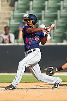 Michael Taylor #3 of the Hagerstown Suns follows through on his swing against the Kannapolis Intimidators at Fieldcrest Cannon Stadium on May 30, 2011 in Kannapolis, North Carolina.   Photo by Brian Westerholt / Four Seam Images