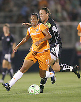 Abby Wambach#20 of the Washington Freedom races to catch Rosana#11 of Sky Blue FC during a WPS match at Maryland Soccerplex on August 8,2009 in Boyds, Maryland. Freedom won 3-1
