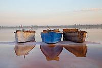 The brine boats at Lake Retba, or Lac Rose, in Senegal