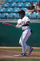 San Jose Giants second baseman Jalen Miller (2) follows through on his swing during a California League game against the Lancaster JetHawks at San Jose Municipal Stadium on May 13, 2018 in San Jose, California. San Jose defeated Lancaster 3-0. (Zachary Lucy/Four Seam Images)