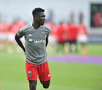 WASHINGTON, DC - JULY 7: Nanan Houssou #97 of D.C. United warming up during a game between Liga Deportiva Alajuense  and D.C. United at Audi Field on July 7, 2021 in Washington, DC.
