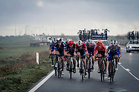 On top of heavy winds throughout the day, the race finale is made even tougher by some serious short rainstorms falling atop the race leaders:<br /> Yves Lampaert (BEL/Deceuninck-QuickStep) / Kasper Asgreen (DEN/Deceuninck - QuickStep) / John Degenkolb (DEU/Lotto-Soudal) / Tim Merlier (BEL/Alpecin-Fenix) / Tim Declercq (BEL/Deceuninck-QuickStep) / Matteo Trentin (ITA/CCC) / Florian Sénéchal (FRA/Deceuninck - QuickStep)<br /> <br /> 44th AG Driedaagse Brugge-De Panne 2020 (1.UWT / BEL)<br /> 1 day race from Brugge to De Panne (203km shortened to 188km due to the windy weather conditions) <br /> <br /> ©kramon