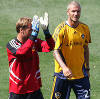 LA Galaxy players FWD David Beckham (R-23)   and GK Lance Friesz (L-35) Beckhams first practice with the LA Galaxy at the Home Depot Center in Carson, California, Monday, July 16, 2007.