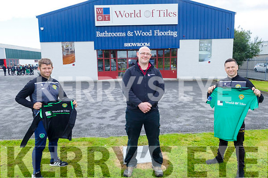 The World of Tiles in Manor sponsoring the Kerry FC U13 League of Ireland team.<br /> L to r: Billy Stack, Stephen Griffin (Manager, World of Tiles) and Eoin O'Mahoney.