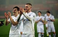 Pictured: (L-R) Adnan Maric and Oliver McBurnie of Swansea City celebrate their win after the end of the game Monday 13 March 2017<br /> Re: Premier League 2, Swansea City U23 v Wolverhampton Wanderers FC at the Liberty Stadium, Swansea, UK