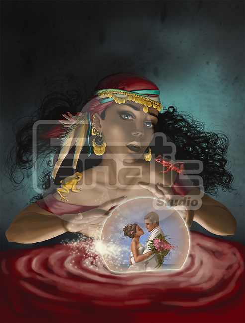 Illustrative image of fortune teller looking at couple in crystal ball