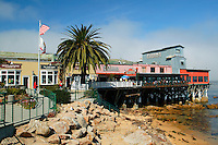 Businesses on a dock along Cannery Row, Monterey, California