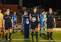 Assistant referee Jordan Vandenborre, referee Baptiste Federico and assistant referee Alexandre Minnoy pictured before a female soccer game between FC Femina White Star Woluwe and AA Gent Ladies on the 13 th matchday of the 2020 - 2021 season of Belgian Scooore Womens Super League , friday 5 th of February 2021  in Woluwe , Belgium . PHOTO SPORTPIX.BE | SPP | SEVIL OKTEM
