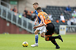 Dundee United v St Johnstone…..01.08.20   Tannadice  SPFL<br />David Wotherspoon goes past Lewis Neilson only to shot wide<br />Picture by Graeme Hart.<br />Copyright Perthshire Picture Agency<br />Tel: 01738 623350  Mobile: 07990 594431