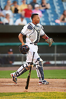 Syracuse Chiefs catcher Pedro Severino (4) during a game against the Louisville Bats on June 6, 2016 at NBT Bank Stadium in Syracuse, New York.  Syracuse defeated Louisville 3-1.  (Mike Janes/Four Seam Images)