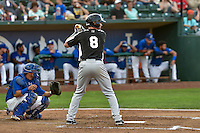 Vince Fernandez (8) of the Grand Junction Rockies at bat against the Ogden Raptors in Pioneer League action at Lindquist Field on August 26, 2016 in Ogden, Utah. The Raptors defeated the Rockies 6-5. (Stephen Smith/Four Seam Images)