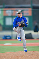Seton Hall Pirates relief pitcher Anthony Elia (18) in action against the Virginia Cavaliers at The Ripken Experience on February 28, 2015 in Myrtle Beach, South Carolina.  The Cavaliers defeated the Pirates 4-1.  (Brian Westerholt/Four Seam Images)