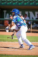 Nick Sell (13) of the Ogden Raptors at bat against the Grand Junction Rockies in Pioneer League action at Lindquist Field on July 5, 2015 in Ogden, Utah.Ogden defeated Grand Junction 12-2.  (Stephen Smith/Four Seam Images)