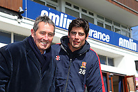 Alastair Cook of England and Essex (R) poses for a portrait in front of the pavilion with England batting coach Graham Gooch - Essex County Cricket Club Press Day at the Essex County Ground, Chelmsford, Essex - 02/04/13 - MANDATORY CREDIT: Gavin Ellis/TGSPHOTO - Self billing applies where appropriate - 0845 094 6026 - contact@tgsphoto.co.uk - NO UNPAID USE.