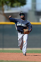 Seattle Mariners shortstop Gianfranco Wawoe (23) during an instructional league game against the Kansas City Royals on October 2, 2013 at Surprise Stadium Training Complex in Surprise, Arizona.  (Mike Janes/Four Seam Images)