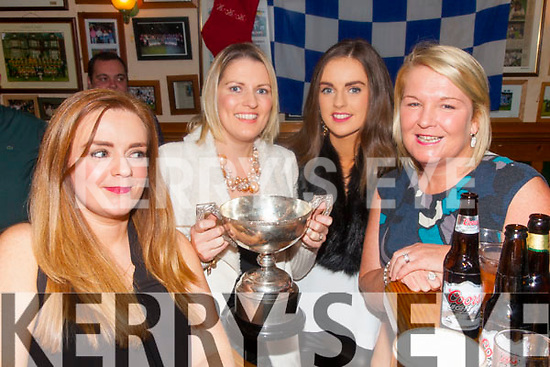 Celebrating with the Jack Murphy Cup in Cráineens Cahersiveen on Saturday night were l-r; Claire O'Sullivan, Niamh O'Sullivan, Lisa O'Sullivan & Paula Brennan.