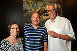 From left: Sandy Dimperio, Ken Mazzu and Jim Dimperio at the art openings of Carter Ernst, Mazzu and Pat Johnson  at the Art Car Museum Saturday June 29, 2013.(Dave Rossman photo)