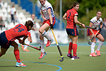 GER - Mannheim, Germany, May 06: During the German Hockey Bundesliga women match between Mannheimer HC (white) and Duesseldorfer HC (red) on May 6, 2017 at Am Neckarkanal in Mannheim, Germany. Final score 3-2 (HT 2-0). (Photo by Dirk Markgraf / www.265-images.com) *** Local caption *** Maxi Pohl #6 of Mannheimer HC