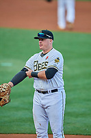 Justin Bour (37) of the Salt Lake Bees during the game against the Tacoma Rainiers at Smith's Ballpark on May 27, 2019 in Salt Lake City, Utah. The Bees defeated the Rainiers 5-0. (Stephen Smith/Four Seam Images)