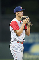 Williamsport Crosscutters third baseman Cameron Perkins #37 during a NY-Penn League game against the Batavia Muckdogs at Dwyer Stadium on August 11, 2012 in Batavia, New York.  Williamsport defeated Batavia 5-4.  (Mike Janes/Four Seam Images)
