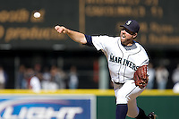 September 28, 2008: Seattle Mariners' R.A. Dickey throws a pitch during a game against the Oakland Athletics at Safeco Field in Seattle, Washington.