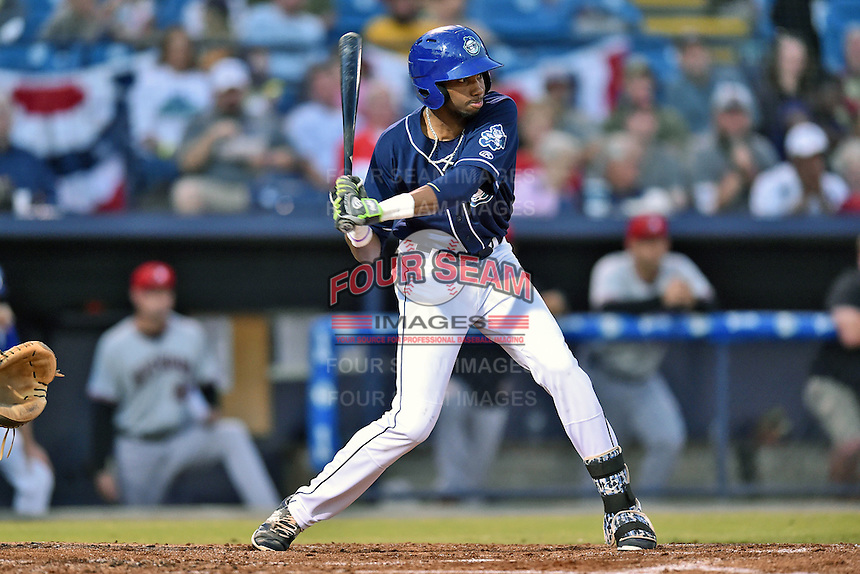 Asheville Tourists center fielder Wes Rogers (24) swings at a pitch during game 3 of the South Atlantic League Championship Series between the Asheville Tourists and the Hickory Crawdads on September 17, 2015 in Asheville, North Carolina. The Crawdads defeated the Tourists 5-1 to win the championship. (Tony Farlow/Four Seam Images)