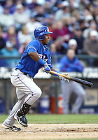 04 October 2009: Texas Rangers lead off hitter #29 Julio Borbon lays down a bunt against the Seattle Mariners in the 8th.  Seattle won 4-3 over the Texas Rangers at Safeco Field in Seattle, Washington.