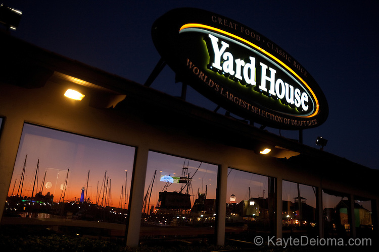 Shoreline Marina sunset reflected in the windows at the Yard House at Shoreline Village, Long Beach, CA