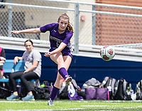 Lauren Magre (6) of Fayetteville kicks ball against St. Mary's Academy at Wildcat Stadium, Springdale, Arkansas, Friday, May 14, 2021 / Special to NWA Democrat-Gazette/ David Beach