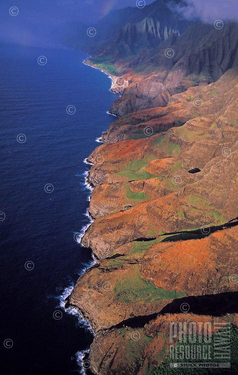 Na Pali Coast State Park view towards Kalalau Valley, late afternoon, aerial photo.