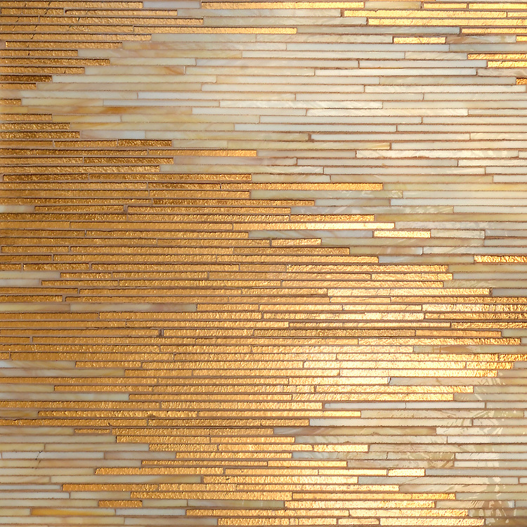 Reve, a handmade mosaic shown in 24K Gold Glass and Agate and Quartz Jewel Glass, is part of the Aurora® collection by New Ravenna.