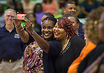 Houston ISD trustee Wanda Adams. left, makes a selfie with Nutrition Services staff during a welcome back at Barnett Field House, August 18, 2014.