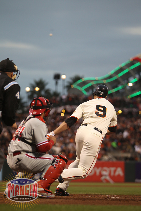SAN FRANCISCO - OCTOBER 21:  Pat Burrell of the San Francisco Giants bats against the Philadelphia Phillies during Game 5 of the NLCS at AT&T Park on October 21, 2010 in San Francisco, California. (Photo by Brad Mangin)