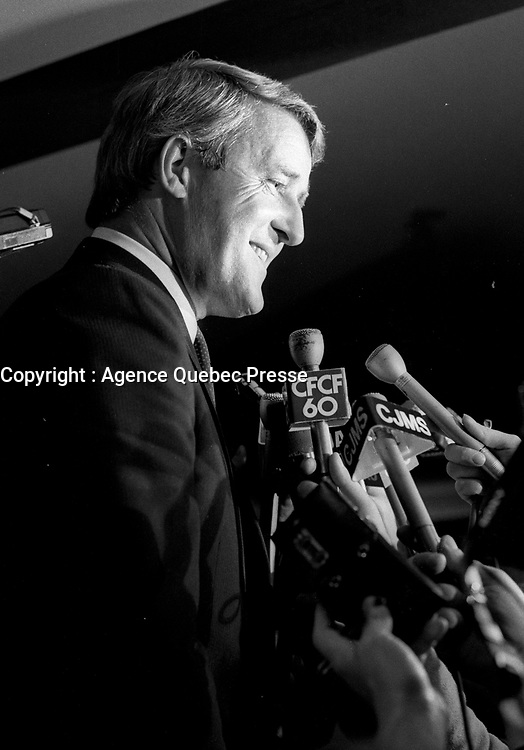 Dorval (Qc) CANADA - July 15, 1984 File Photo-<br /> <br /> Brian Mulroney  leader of  Progressive-Conservative  Party talk to the medias after  the presentation of Montreal's PC Candidates in the 1984 federal election.