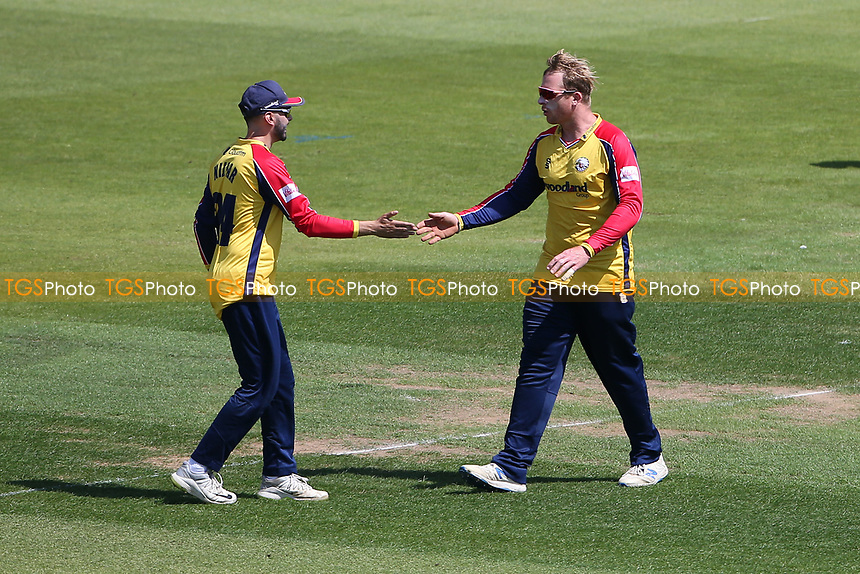 Simon Harmer of Essex celebrates taking the wicket of James Vince during Hampshire Hawks vs Essex Eagles, Vitality Blast T20 Cricket at The Ageas Bowl on 16th July 2021