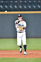 Southern Division shortstop Jose Gomez (4) of the Asheville Tourists throws to first base during the South Atlantic League All Star Game at Spirit Communications Park on June 20, 2017 in Columbia, South Carolina. The game ended in a tie 3-3 after seven innings. (Tony Farlow/Four Seam Images)