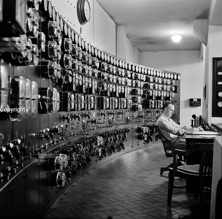 Nerve Center: Control room at the waterworks. Conduit Road, Washington, D.C., September 1940.<br /> <br /> Photo by Edwin Rosskam.