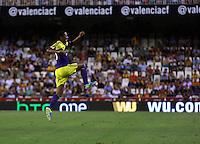 Valencia, Spain. Thursday 19 September 2013<br /> Pictured: Jonathan de Guzman of Swansea celebrating his goal, making the score 0-3 to his team<br /> Re: UEFA Europa League game against Valencia C.F v Swansea City FC, at the Estadio Mestalla, Spain,