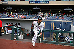 Reno Aces' Nick Heath takes the field in a game against the Tacoma Rainiers, in Reno, Nev., on Friday, May 28, 2021. <br /> Photo by Cathleen Allison