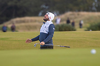 1st October 2021; Kingsbarns Golf Links, Fife, Scotland; European Tour, Alfred Dunhill Links Championship, Second round; Tyrrell Hatton of England reacts as his chip stops short of the hole on the ninth green at Kingsbarns Golf Links
