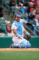 Rochester Red Wings catcher Willians Astudillo (48) during an International League game against the Charlotte Knights on June 16, 2019 at Frontier Field in Rochester, New York.  Rochester defeated Charlotte 3-2 in the second game of a doubleheader.  (Mike Janes/Four Seam Images)