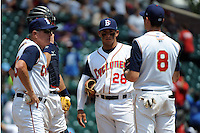 Brooklyn Cyclones manager Rich Donnelly (45), catcher Kevin Plawecki (26), infielders Phillip Evans (28), and Jayce Boyd (8) during game against the Aberdeen Ironbirds at MCU Park on July 24, 2012 in Brooklyn, NY.  Aberdeen defeated Brooklyn 6-3.  Tomasso DeRosa/Four Seam Images