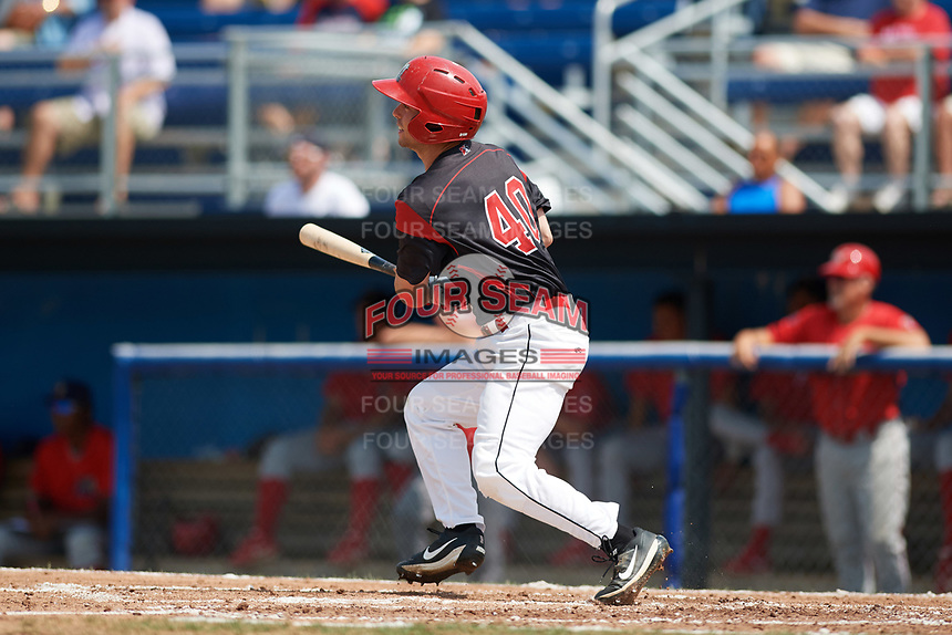 Batavia Muckdogs right fielder Harrison White (40) hits a single during the first game of a doubleheader against the Williamsport Crosscutters on August 20, 2017 at Dwyer Stadium in Batavia, New York.  Batavia defeated Williamsport 6-5.  (Mike Janes/Four Seam Images)