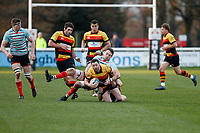 Tom Burns of Blackheath Rugby tackles Tom Hodgson of Richmond Rugby during the English National League match between Richmond and Blackheath  at Richmond Athletic Ground, Richmond, United Kingdom on 4 January 2020. Photo by Carlton Myrie.