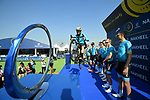 Vittorio Brumotti with Astana Pro Team at sign on before the start of Stage 1 The Nakheel Stage of the Dubai Tour 2018 the Dubai Tour's 5th edition, running 167km from Skydive Dubai to Palm Jumeirah, Dubai, United Arab Emirates. 6th February 2018.<br /> Picture: LaPresse/Massimo Paolone | Cyclefile<br /> <br /> <br /> All photos usage must carry mandatory copyright credit (© Cyclefile | LaPresse/Massimo Paolone)