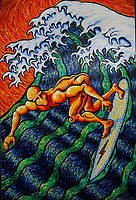 Surfing Hokusai. Acrylic on Board. 4' X 6'. About 2001. Leucadia, CA. USA