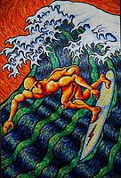 Surfing Hokusai. Acrylic on Board. 4' X 6'. About 2001. Leucadia, CA. USA.  |Artist J. Scott Lytle. copyright.